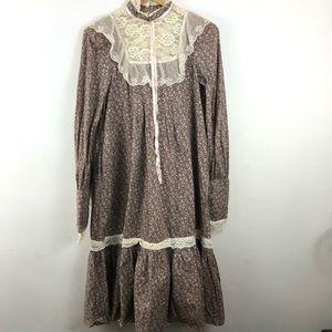 Gunne Sax Brown Floral Prairie Midi Dress S